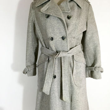 SALE Vintage Gray Coat Heavy Chevron Coat Women's Long Coat Gray Double Breasted Retro Coat Or Jacket For Women Long Gray Winter Vintage Coa