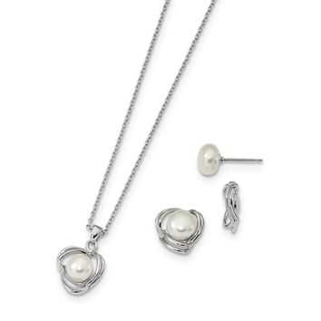 925 Sterling Silver Rhodium 6-7mm FWC Pearl CZ Earring Jacket and Necklace Set