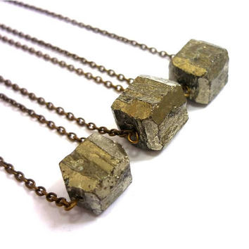 Raw Geometric Pyrite Gold Necklace