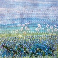 Embroidered fabric landscape  - fibre art card  - blue beaded card - french knots - 5 inch square card