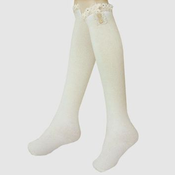 MDIGON1O Delicate Buttons & Lace Ruffled Knee High Boot Socks - White Day First