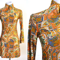 1970s Groovy Mod Dress Psychedelic Paisley Mini Skirt