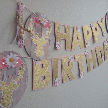 Boho chic shabby chic  deer head happy birthday banner floral tassel/ pink /gold/ white