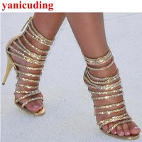Narrow Band Women Sandals Crystal Embellished Bling Runway Star Stage Shoes Bride Dress Party Fashion Zapatos Mujer Brand Heels