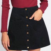 Patch Pocket Button Up Skirt -SheIn(Sheinside)
