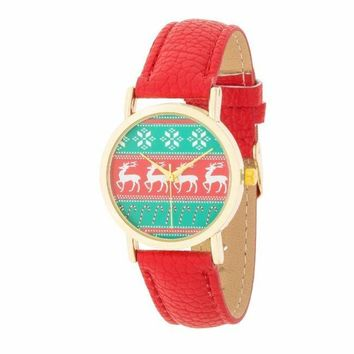 Gold Holiday Watch With Reindeer Red Leather Strap