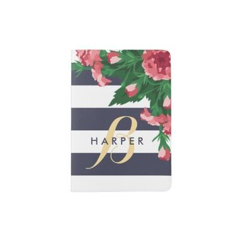 Pink Carnations & Blue Stripes Monogram Passport Holder