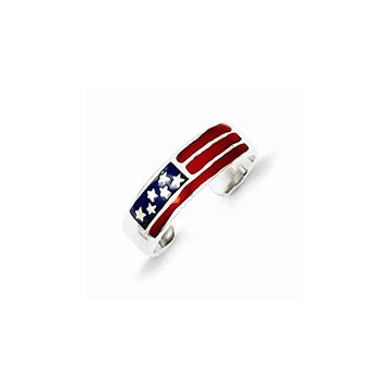 Sterling Silver Enameled Flag Toe Ring, Best Quality Free Gift Box Satisfaction Guaranteed