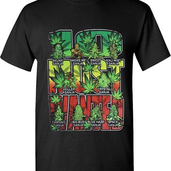 10 Most Wanted Ganja Buds Marijuana Strains 420 Solid Graphic T-Shirts