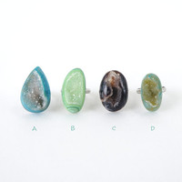 Raw Drusy Stone Ring in Various Color of Black, Blue, Green, Crystal Geode Statement Rings, Druzy Gemstone Jewelry