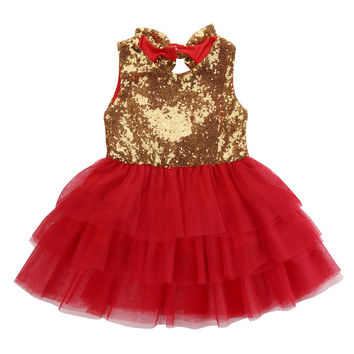 Baby Flower Girl Sleeveless Sequins Dress Tulle Party Formal Bridesmaid Backless bow-knot Dresses US Stock