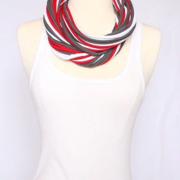Ohio State Buckeyes T-shirt Infinity Scarf - Red, Grey & White Mix