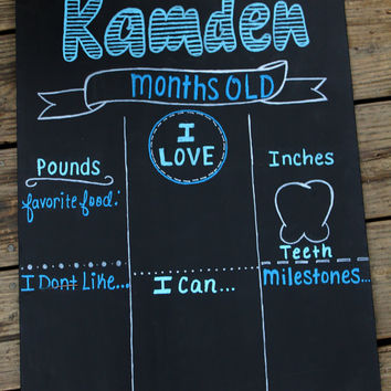 Monthly Baby Chalkboard, Monthly Baby Pictures, monthly chalkboard, Reusable Chalkboard, first year, baby month sign, milestones sign,