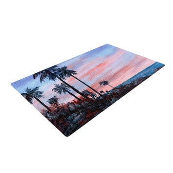 "Rosie Brown ""Florida Sunset"" Palm Tree Woven Area Rug"