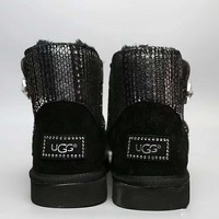UGG Fashion Plush leather boots boots in tube Boots Black G-A0-HXYDXPF