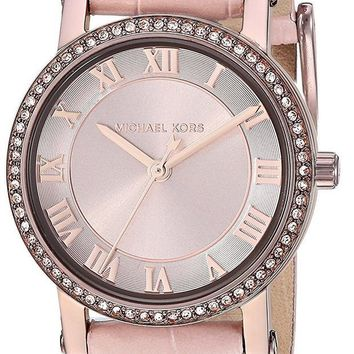 CREYRQ5 Michael Kors Watches Womens Norie Sable IP and Pink Leather Watch
