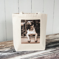Joyriding Pug - Vintage Photograph - Essentials Tote - School Bag - Canvas Bag