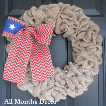 Natural Burlap Wreath with Lone Star Chevron Flag Burlap Bow, Patriotic,Memorial, Independence Day 4th of July, Labor Day, Rustic Door Porch