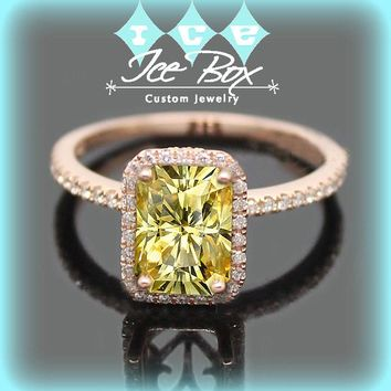 Radiant Cut Yellow Moissanite in a 14k Rose Gold Diamond Milgrain Scrollwork Halo Setting