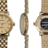 Shinola The Runwell PVD Gold Stainless Steel Strap Gold Dial Watch