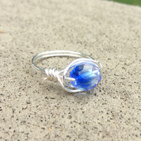 Blue ring, silver wire wrap, gift for her, nickel free, custom size