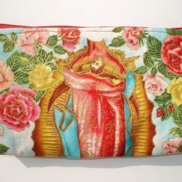 Guadalupe Mexican Virgin Mary Wallet / Makeup Bag / Cosmetic Bag / Coin purse