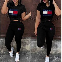 Tommy Hilfiger Women Casual Print Top Pants Trousers Set Two-Piece