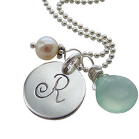 Initial Necklace - Sterling Silver Necklace with Charms - Initial Disc Necklace- freshwater pearl and Chalcedony