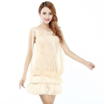 Women Gatsby Flapper Art Party Dress Sexy Cute Sleeveless Body con Petal Ruffle Fringe Short Mini Dress