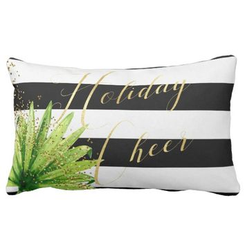 Trendy Elegant Holiday Cheer Striped Lumbar Pillow