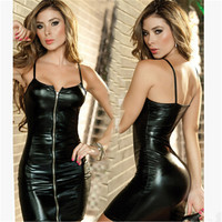 Sexy Women Black Patent Leather Latex Dress Fashion Black Strap Front Zipper Dance Clubwear Clothing Performance Costume kz416