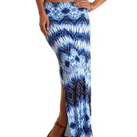 Blue Combo Tie-Dye Double Slit Maxi Skirt by Charlotte Russe