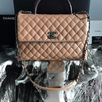 NWT CHANEL CoCo Handle MEDIUM Camel Caviar DETACHABLE Chain Burgundy Lizard Bag