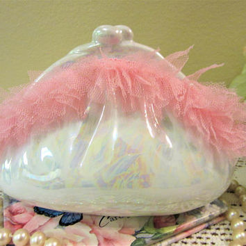 Banks Piggy Purse Coin Girl Porcelain Ceramic Pottery Pink Lace Hand Painted blm