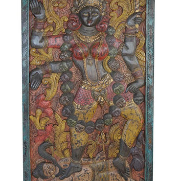 Indian Wall Sculpture Maa Kali shakti hand carved panel powerful goddess protector yoga meditation,Wall Decor, Barn Door