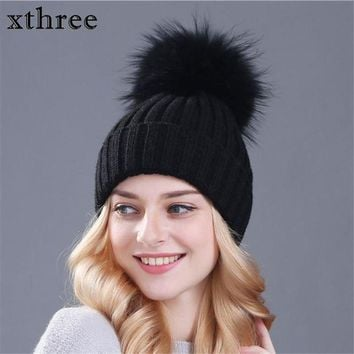 DCCKU62 xthree real mink fur colour pom poms winter hat for women girl 's hat knitted beanies cap thick female cap