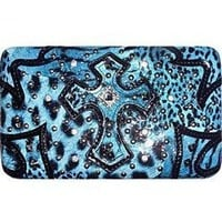 Animal Print Zebra Leopard Cross Flat Wallet Clutch Purse Blue (blue)