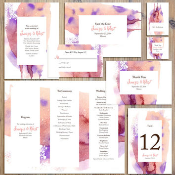 Instant Download - Pink Purple Watercolor Wedding Package Invitation RSVP Program Thank You Save the Date Table Number Place Cards Template