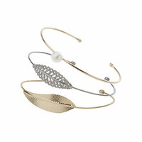 Pearl and Leaf Bangle - Mixed Metal