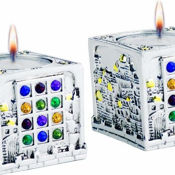 Candle Holders Jerusalem Cube Silver 925 Plated  05*10 Cm.