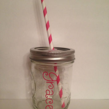 Kids Mason Jar cup, Personalized Kids Cup, Kids Mason Jar Tumbler, Kids Party Cups, Mason jar sippy cup, Flower Girl gift, mason jar kids