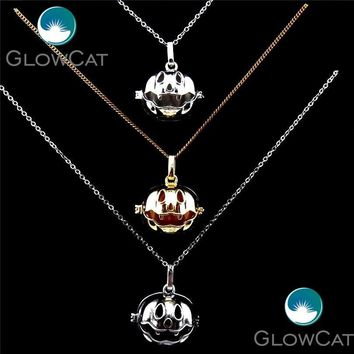 GLOWCAT 20909 Halloween Pumpkin Box Necklace Stainless Chains Magic Copper Locket Cage Pendants Necklace With Glow Beads