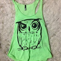 Full Tilt Lime Green Owl Tank Top Large CUTE