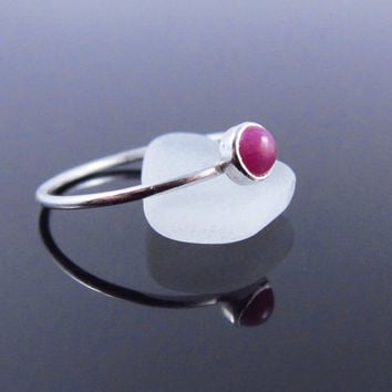 Sterling Silver Genuine Ruby Ring, Natural Ruby Stacking Ring, Dainty July Birthstone Stacking Ring, July Birthstone Ring, February Gift