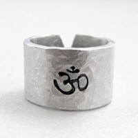 Om Symbol - Hammered - Hand Stamped Adjustable Aluminum Ring - Customizable