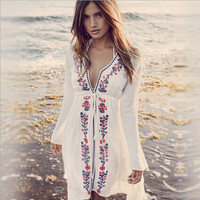 Women Bikini cotton Cardigan Beach Cover Up Flower Tassels Kaftan Robe De Plage For Swimsuit Beach Wear 9364