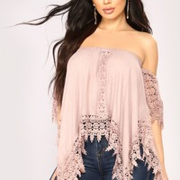 Free Bird Off Shoulder Top - Mauve