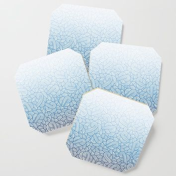 Gradient blue and white swirls doodles Coaster by savousepate
