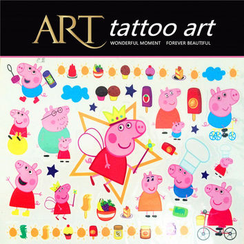 Pinky Pigs Family Child Temporary Tattoo Body Art Flash Tattoo Stickers Waterproof Henna Tatoo Car Styling Wall Sticker