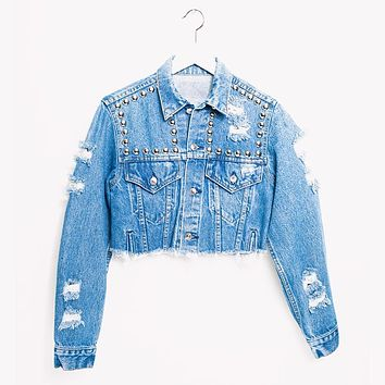One a Kind Vintage Crop Jeans Denim Jacket